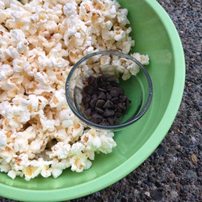 popcorn and chocolate chips